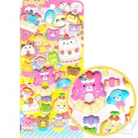 Dessert Sweets Food Themed Bear Anima Shaped Puffy Stickers for Scrapbooking