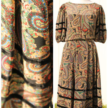 Vintage 1970s Albert Nipon Jewel Tone Paisley Dress