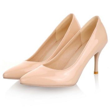 Fashion high heels women pumps thin heel classic white red/nude/beige sexy prom wedding shoes