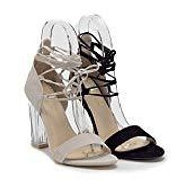 Women's Clarity-8 Lace Up Ankle Strappy Gladiator Clear Lucite Heels Sandals