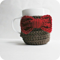 Coffee Mug Tea Cup Cozy Eleventh Doctor Who red bow tie sci fi crochet handmade cover