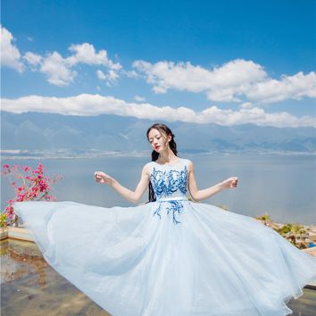 light blue blossom flower embroidery long dress Victorian  long dress