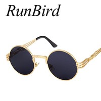 RunBird Retro Gothic Steampunk Mirror Sunglasses Men Gold and Black Sun Glasses Vintage Round Circle Women UV Gafas De Sol 1075R
