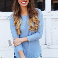 Clear Skies Blue Knit Top