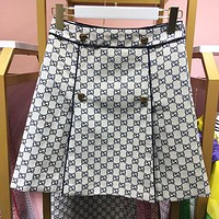 "Hot Sale ""GUCCI"" Trending Women Stylish Double G Jacquard High Waist Short Skirt White I12867-1"