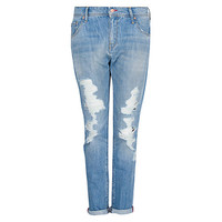 Buy Mango Ripped Boyfriend Jeans, Light Pastel Blue online at John Lewis