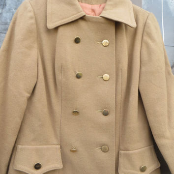 mid century  womens 1950S  light brown  pure wool  double breasted  princess style coat