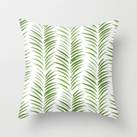 Herringbone Green Nature Pattern Throw Pillow by Maioriz Home