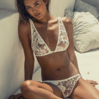 Women's Sexy Floral Embroidered Hollow Lace Lingerie Set Underwear