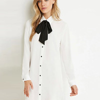 Pointed Flat Collar Long Sleeve Mini Shift Dress