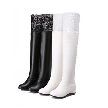 Hot Deal On Sale Lace Height Increase Boots [11192768071]
