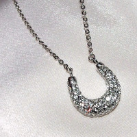 Lucky Pave Crystal Puffy Horseshoe Necklace, 18k White Gold Plated, Celebrity Inspired Necklace, Good Luck Charm