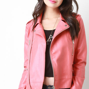 Vegan Leather Zipper Moto Jacket