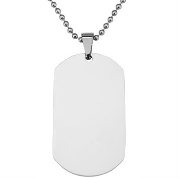 Stainless Steel Dog Tag Ball Chain Necklace