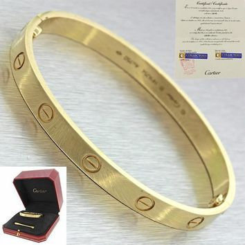 2016 Unworn Cartier 18k Yellow Gold New Style Love Bangle Bracelet 17 Box Papers