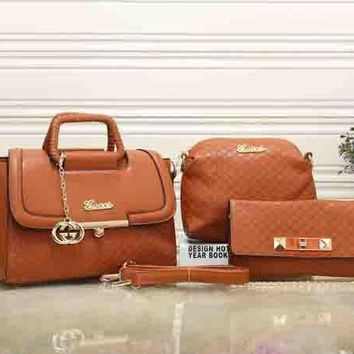 Gucci Women Fashion Leather Satchel Tote Shoulder Bag Crossbody Wallet Three Piece Suit-4