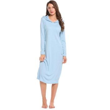 Casual Nightgown Women Long Sleeve Hooded Long Nightgown Autumn Loose Solid Sleepwear Home Clothing Plus Size