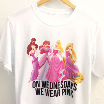 On Wednesdays We Wear Pink Shirt |  Disney Princes | Mean Girl Quotes