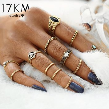 17KM 12pcs/set Fashion Vintage Punk Midi Rings Set 2017 Antique Gold Color Boho Female Charms Jewelry Knuckle Ring For Women