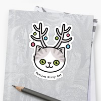 'Festive Kitty Cat' Sticker by Zoe Lathey