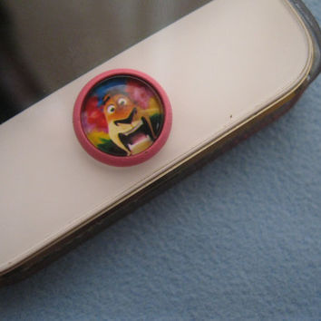 Retro Epoxy Madagascar Transparent Time Gems Alloy Cell Phone Home Button Sticker Charm for iPhone 4,4s,5,5c iPad iTouch
