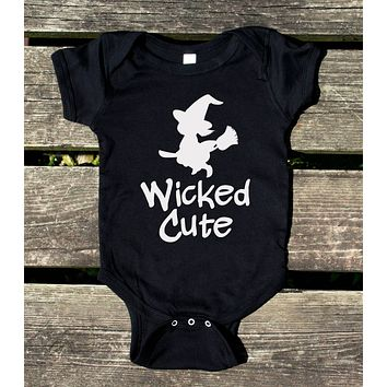 Wicked Cute Witch Baby Bodysuit Funny Halloween Costume Newborn Infant Girl Clothing