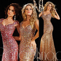2017 Mermaid Sweetheart Gold Fuchsia Crystals Squins Sparkle Long Prom Dresses Prom Gown Evening Dresses Evening Party Gown