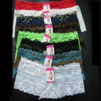 12 SEXY SOFT Lace Boyshorts Lot XS S M L Women Panties Lingerie Underwear Bulk