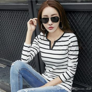 Casual office lady striped t-shirts for women tops long sleeve t shirt womens clothing crop top tshirt WT56 WR