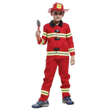Kids Cosplay Sam Fireman clothes Costume Firefighter halloween Fantasia Infantil Carnival Party fancy dress boys child christmas