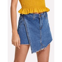 Raw Edge Denim Skort