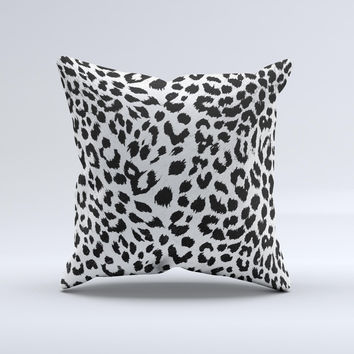 Vector Leopard Animal Print Ink-Fuzed Decorative Throw Pillow