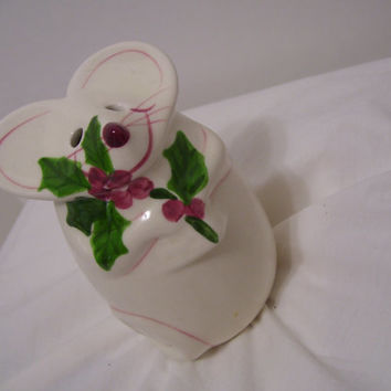 Porcelain, Christmas Mouse, Holly Berries, Cheese Shaker, Sugar Dispenser, N.S. Gustin Co., Tabletop Decor, Kitchen Whimsical