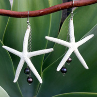 White Skinny Starfish Black Pearl Dangle Earring
