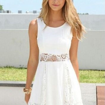 White Plain Lace Hollow-out Comfy Split Joint Round Neck Sleeveless Cute Chiffon Dress