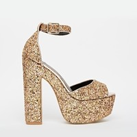 River Island Block Heeled Glitter Sandals