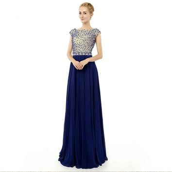 Scoop Backless Chiffon Beading Formal Long Evening Dresses A Line Cap Sleeves Floor Length Evening Gowns