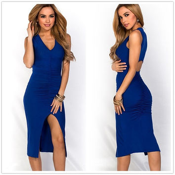Feelingirl Blue Ruffles and High Slit Up Dress Sexy Hollow Out V Neck Party Dress (Size: One Size, Color: Blue) = 1696905668