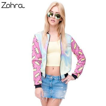 Trendy Zohra Hot sale Brand Women Bomber Jacket 3D Printed Princess Crown Outwear Coats University College chaquetas Basic Jackets AT_94_13