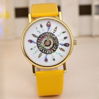 Boho Feather Watch with Yellow Band
