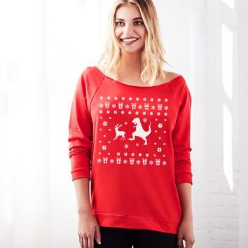 Reindeer T-Rex Design Women's Ugly Christmas Off the Shoulder Sweater