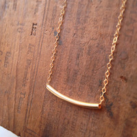 Simple, Modern 14k Gold Bar Necklace - Sleek Gold Tube & Delicate Chain Layering Necklace