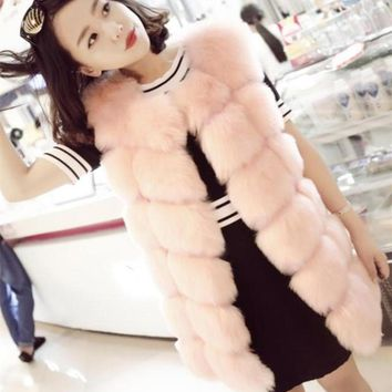 6XL 2017 2018 Winter Women Colorful Pink Fur Vest Fox Fur Vests Woman Fox Fur Coat Jacket Female Ladies Fur Coats V680