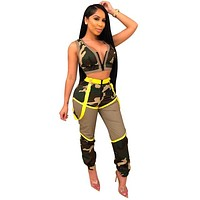 Women Sexy Two Piece Camouflage Neon Patchwork Tank Crop Top Pant Set
