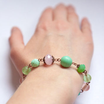 Mint green pastel pink copper beaded bracelet Spring by Nuann