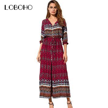 Boho Style Maxi Dress Summer 2017 Fashion Holiday Printed Long Dresses Women Open Slit Buttons Bohemian Dress With Half Sleeve
