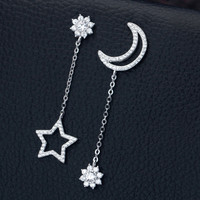 Inlaid china crystal star and moon 925 sterling silver earrings, a perfect gift