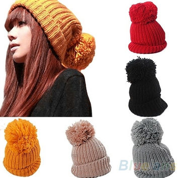 Women's Winter Slouch Knitting Cap Warm Oversized Cuffed Beanie Crochet Ski Bobble Hat, cute, head warmer = 1645841156