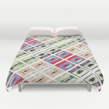 modern funny geeky colorful cassette tape pattern fashion art Duvet Cover by Chicelegantboutique