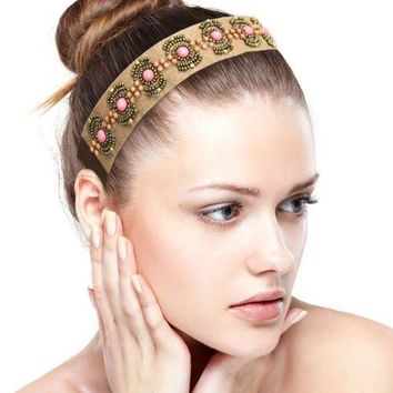 Beaded Leather Fashion Headband